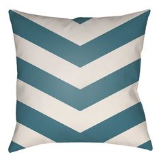 "Artistic Weavers Litchfield Chevron Outdoor/Indoor Throw Pillow Size: 16"" H x 16"" W, Color: Light Gray/Ivory"