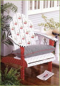 A Mary Engelbreit inspired painted Cherry chair by zelma Whimsical Painted Furniture, Painted Chairs, Hand Painted Furniture, Funky Furniture, Furniture Projects, Furniture Makeover, Cheap Furniture, Adirondack Chairs, Outdoor Chairs