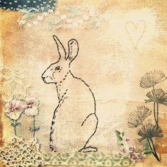Stitched mixed media Hare by Emily Henson #bibliboo