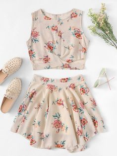 Floral Print Cross Wrap Front Top and Skirt Set -SheIn(Sheinside) Cute Girl Outfits, Cute Summer Outfits, Cute Casual Outfits, Pretty Outfits, Casual Dresses, Wrap Front Top, Wrap Front Dress, Girls Fashion Clothes, Teen Fashion Outfits