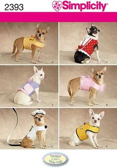 Fancy coats for small dogs by Designs for Dinky Dogs. Sewing pattern for dog clothes. Simplicity sewing pattern part of Simplicity Spring 2010 collection. Pattern for 6 looks. For sizes A (XXS-XS-S-M). Dog clothes in size a (xxs-xs-s-m), simplicity Small Dog Coats, Small Dog Clothes, Pet Clothes, Small Dogs, Dog Clothing, Chihuahua Clothes, Dog Coat Pattern, Vest Pattern, Dog Clothes Patterns
