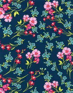 Patty Young Premium Quilt Fabric- Wildflowers Navy