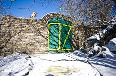 """The yellow brick road from the closed theme park """"The Land of Oz"""" in Beech Mountain, North Carolina"""