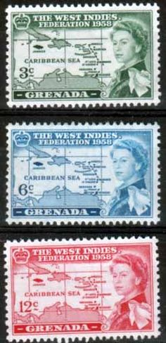 Grenada 1958 B W I Federation Set Fine Mint SG 205 - 207 Scott 184 - 186 Other…
