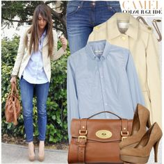 can i be more obsessed with neutrals? #clothing #outfit #jeans #denim #jacket #cream #vanilla #buttondown #collared #bag #camel #pumps #nude #tan #suede #neutral #fashion #style