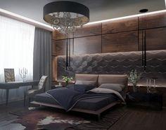 Dormitorio con pared madera