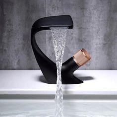 Modern Bathroom Sink, Bathroom Sink Faucets, Bathroom Sink Design, Bathroom Shop, Modern Sink, Kitchen Sink Faucets, Washroom, Bathroom Fixtures, Rose Gold Chrome