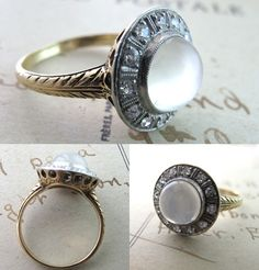 1910 moonstone and diamond cocktail ring
