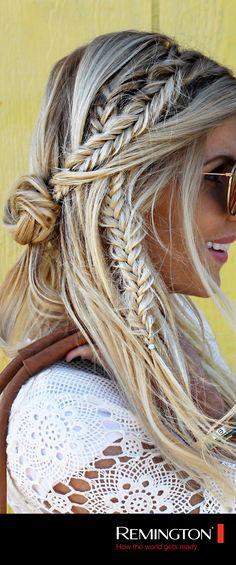 Combina trenzas sueltas y relajadas para poder lograr un peinado al estilo boho-chic. ¡Ideal para lucir casual y al mismo tiempo lindísima! #woman #hair #hairstyle #bohochic #fashion #trendy #cool #style