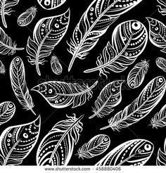 Feathers fly on a black background. Vector seamless pattern in boho style.