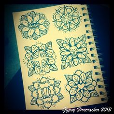 Getting some traditional flower designs together for a cutie flash sheet Gypsy Firecracker 2013