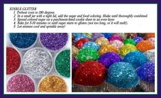 This easy DIY edible sugar glitter is the perfect way to add some serious sparkle to your desserts. Made from two ingredients. Comments say bake at 180 instead though. Sucre Candi, Sugar Glitter, Sugar Sprinkles, Glitter Gel, Glitter Eyeshadow, Glitter Photo, Glitter Bomb, Glitter Slides, Glitter Dress