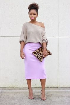 Jeweled Neck Sweater, pencil skirt and ankle strap pumps for ...