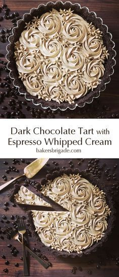 Chocolate Tart with Espresso Whipped Cream Dark Chocolate Espresso Tart- omg this coffee flavored dessert looks ah-mazing! So decadent and gorgeous!Dark Chocolate Espresso Tart- omg this coffee flavored dessert looks ah-mazing! So decadent and gorgeous! Brownie Desserts, Just Desserts, Delicious Desserts, Yummy Food, Elegant Desserts, Elegant Christmas Desserts, Amazing Dessert Recipes, Elegant Cookies, Beautiful Desserts