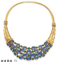 "Sapphire, Diamond, Emerald and Gold 'Cornucopia"" necklace by Rene Boivin circa 1938 High Jewelry, Modern Jewelry, Jewelry Accessories, Jewelry Design, Bling Jewelry, Gold Diamond Earrings, Emerald Necklace, Sapphire Diamond, Emerald Rings"