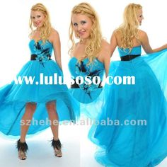 2012 New design wholesale sweetheart light blue organza short front long back prom dress with hand m