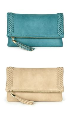 Soft vegan leather foldover clutch in teal and taupe, with beautifully braided side detailing and a tassel along the zipper