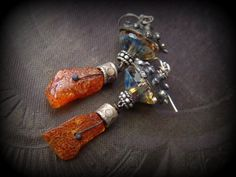 Amber, Kuchi, Talisman, White Bronze, Silver, Czech Glass, Rustic,Tribal, Spirit, Gypsy, Boho, Earrings by YuccaBloom on Etsy