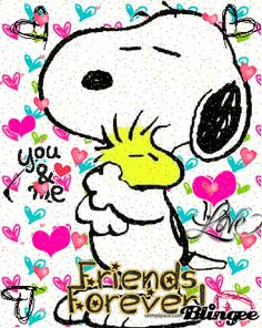 'You & Me, Friends Forever', Snoopy and Woodstock.
