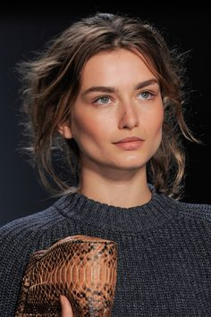 pulled back hair, fresh faced - Andreea Diaconu at Michael Kors Spring 2014