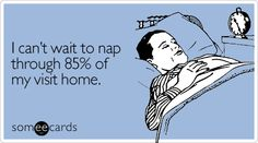 Funny Thanksgiving Ecard: I can't wait to nap through 85% of my visit home.