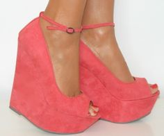 CHIQ | LADIES CORAL PINK PEEP TOE HIGH WEDGE HEELS