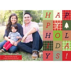 Mad for Plaid Happy Holidays Holiday Photo Card by KateOGroup.   #PlaidHolidays #HolidayCard #ChristmasCard #HolidayPhotoCard #KateOGroup  www.KateOGroup.com