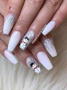 Nail Manicure, Gel Nails, Nail Polish, Holiday Nails, Christmas Nails, Crown Nails, Snowman Nails, Nail Patterns, Nail Arts