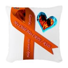 My Child Has CRPS RSD Fire & I Woven Throw Pillow