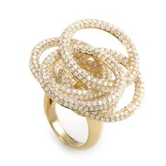 18K Yellow Gold Diamond Circles Ring  | TrueFacet