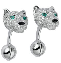 Cartier Haute Joaillerie Collection cufflinks with panther decor in white gold with 4 emeralds (0.2 cts), 2 onyx (0.08 cts) and 184 diamonds (3.55 cts)