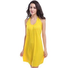 Halter Beach Cover-up Solid Swimdress Yellow