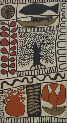 Green Boat, Orange Bird © All rights reserved Marina Strocchi 2009 Australia acrylic on linen, 120 x Arte Tribal, Tribal Art, Kunst Der Aborigines, Illustration Art, Illustrations, Africa Art, Arte Popular, Motif Floral, Indigenous Art