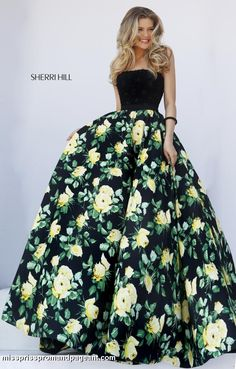50036 Sherri Hill floral print ball gown full skirt prom spring 2016 dress gown