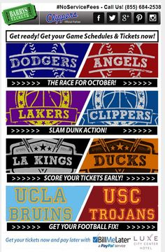 #Pin this!  Get ur Game Schedules & #Tickets Now!   > http://goo.gl/CU4grb <   #NoServiceFees #BarrysTickets #NFL #MLB #NBA #NHL #LosAngeles #Dodgers #Angels #Lakers #Clippers #Kings #Ducks #UCLA #Bruins #USC #Trojans #LA
