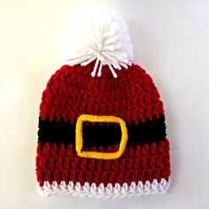 Crochet Santa Hat with Pompom (0-6 months)