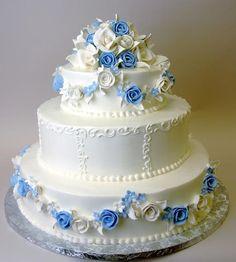 pretty blue and white cake