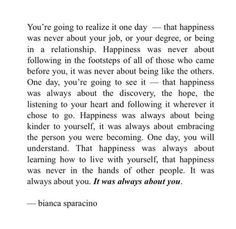 you're going to realize it one day