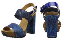 #Desigual Schuhe Beach Pumps Jeans - Modell Carioca. Muster: floral, ethnisch, blau.