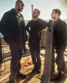 Henry Simmons, Nick Blood and Iain de Caestecker #fitz #hunter #mack