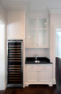 Butler Pantry with Integrated Wine Cooler, Transitional, Kitchen