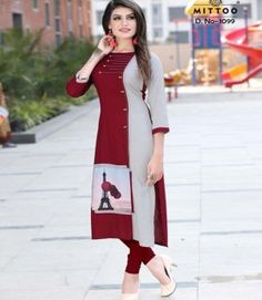 Rayon Kurti in Maroon And Gray Color. This Readymade piece is Enhanced with Resham Hand thread and Patch Border (Edge) Work and is Crafted in Round Neck and Quarter Sleeves The Kurti Length is 45 inches and may vary upto 2 in New Kurti, Latest Kurti, Stylish Office Wear, African Dresses For Kids, Kurti Patterns, Kurti Collection, Kurta Designs, Dress Designs, Indian Designer Wear