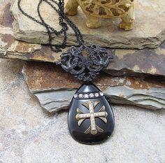 Black Pair of Gargoyles Enamel Pendant Necklace, Medieval Charm Pendant Jewelry with Brass Cross & Rhinestones, Ebony Statement Necklace