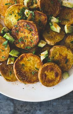Sweet and Salty Curry Roasted Sweet Potatoes with Avocado {gluten-free, vegan}