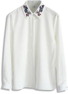 Chicwish Beads Embellished Collar White Shirt