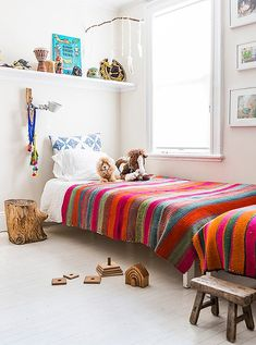 Explore Textile Importer Jenni Li& Colorful Brooklyn Home - Lonny Girls Bedroom, Bedroom Decor, Peruvian Textiles, Kids Decor, Home Decor, Love Home, Black Decor, Kid Spaces, Brooklyn