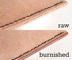 how to burnish leather edges