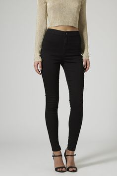 Nordstrom Jeans - Topshop Moto 'Joni' High Rise Skinny Jeans available at Skinny Fit Jeans, Mid Rise Skinny Jeans, Topshop Jeans, High Waisted Black Jeans, High Waist Jeans, Waisted Denim, Black Denim, Preppy Winter Outfits, Fall Outfits