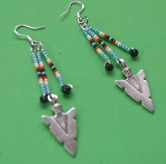"Handmade Native Style Beaded Tibetan Silver Arrowhead Earrings - 3"" long"