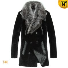CWMALLS® Salt Lake City Black Fur Coat CW868007- Black shearling fur coat with fox fur collar, classic double breasted design with leather trims and 100% polyester lining make this coat, quite warm and stylish. However old you are, you can wear it in your own style and stay handsome in chilly days.